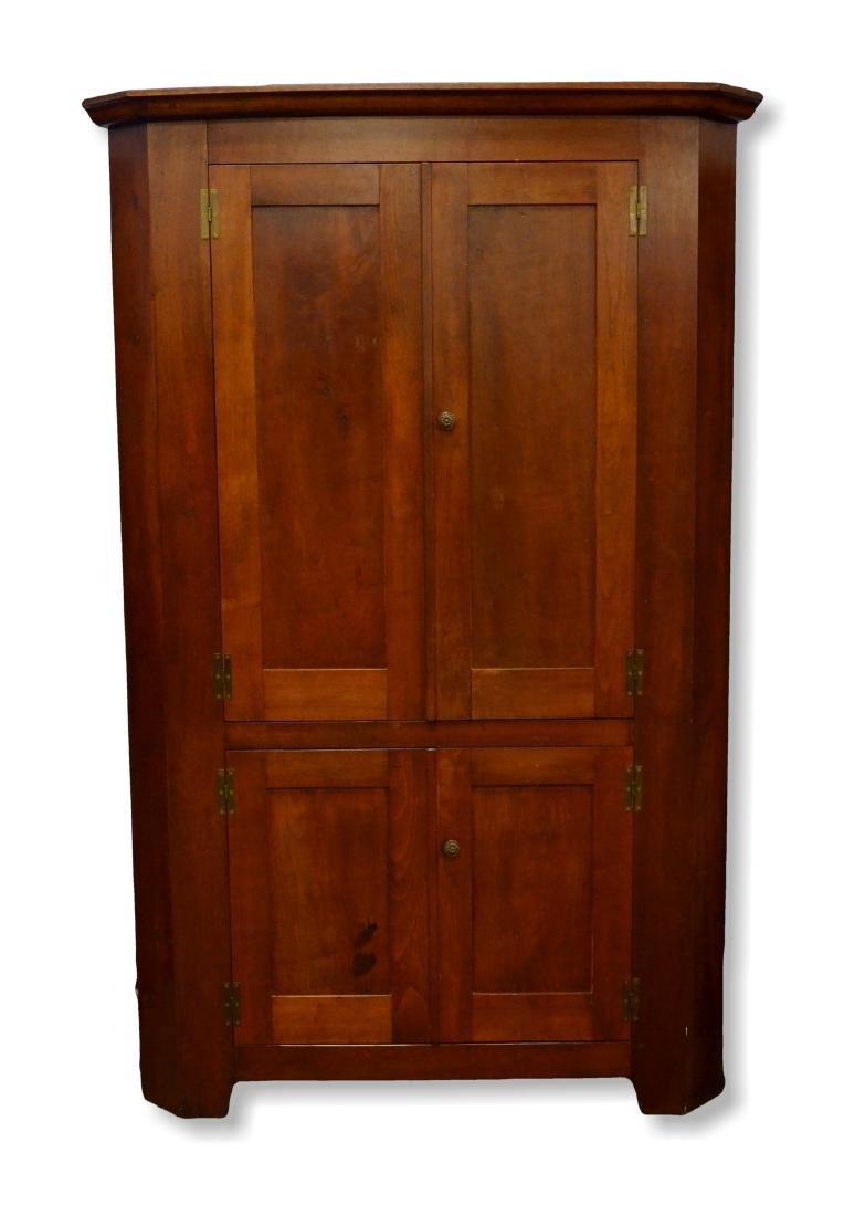 Walnut 1 pc corner cupboard, original H hinges, mid