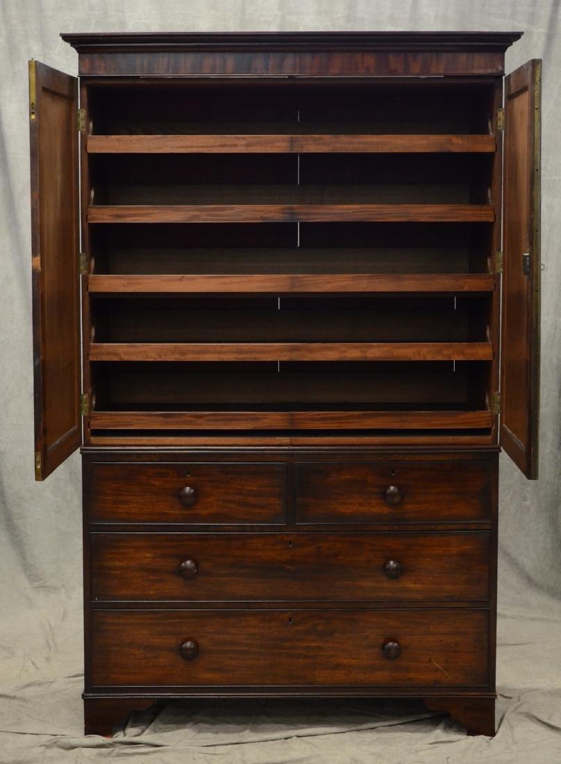 Georgian mahogany linen press, c 1820-30 - 5