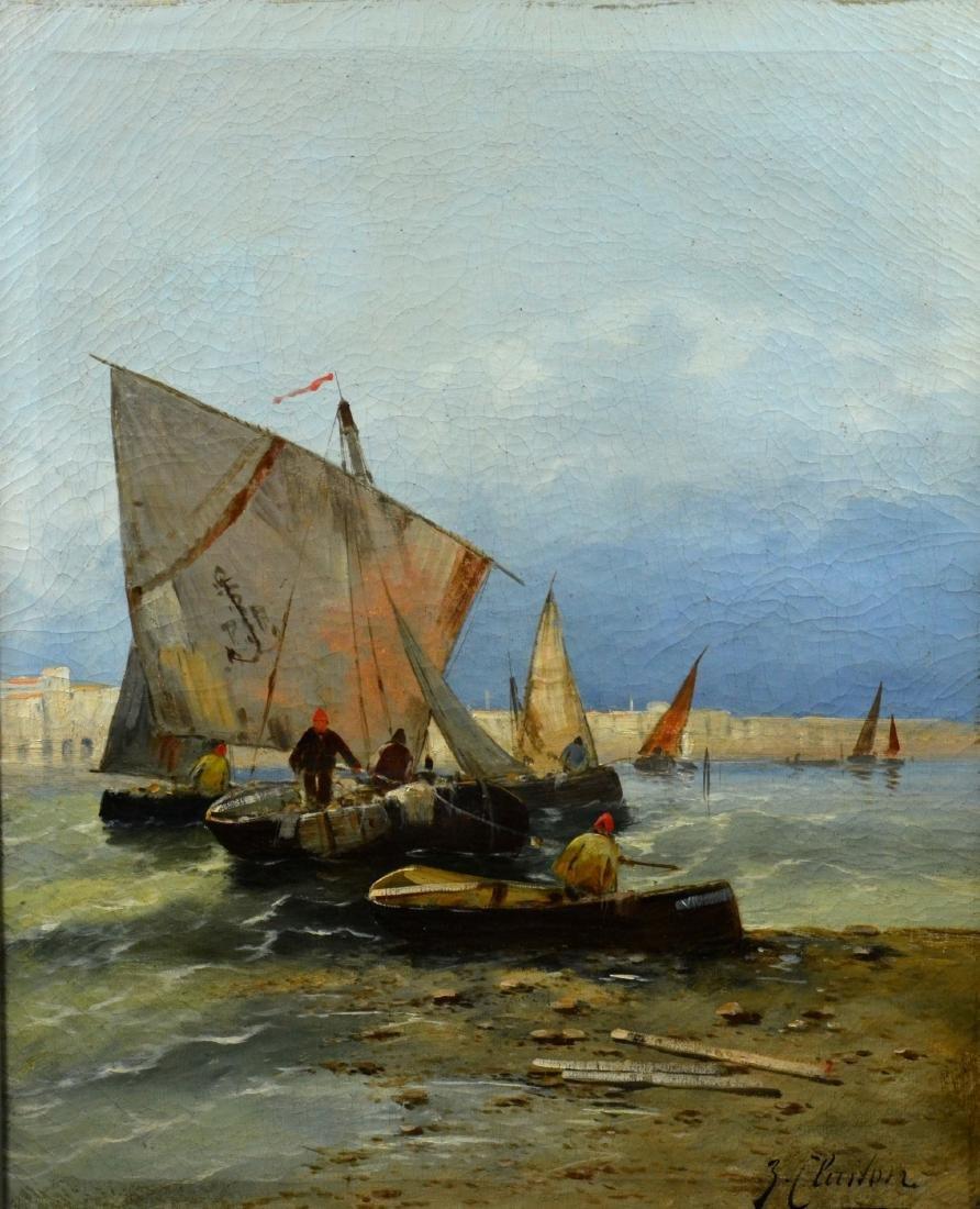 """J. Claiton, 19th C German, """"Fischerbarken an der"""