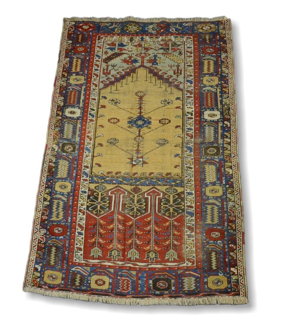 "Circa 1910's Turkish Ladik Prayer Rug 4'1"" x 7'1"""
