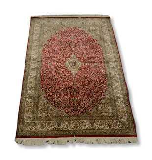 Indo Kashan Silk On Throw Rug