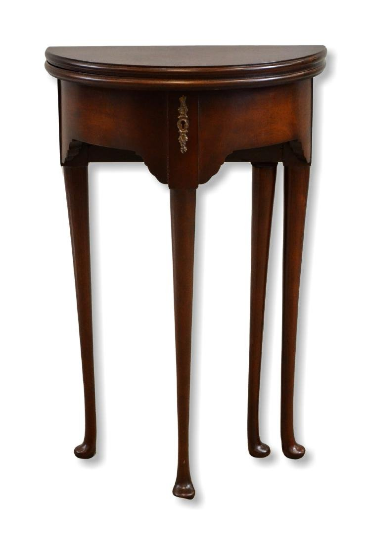 Mahogany Queen Anne Style Demilune Side Table