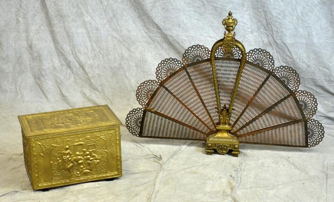 Brass Fireplace Fan & Embossed Kindling Box