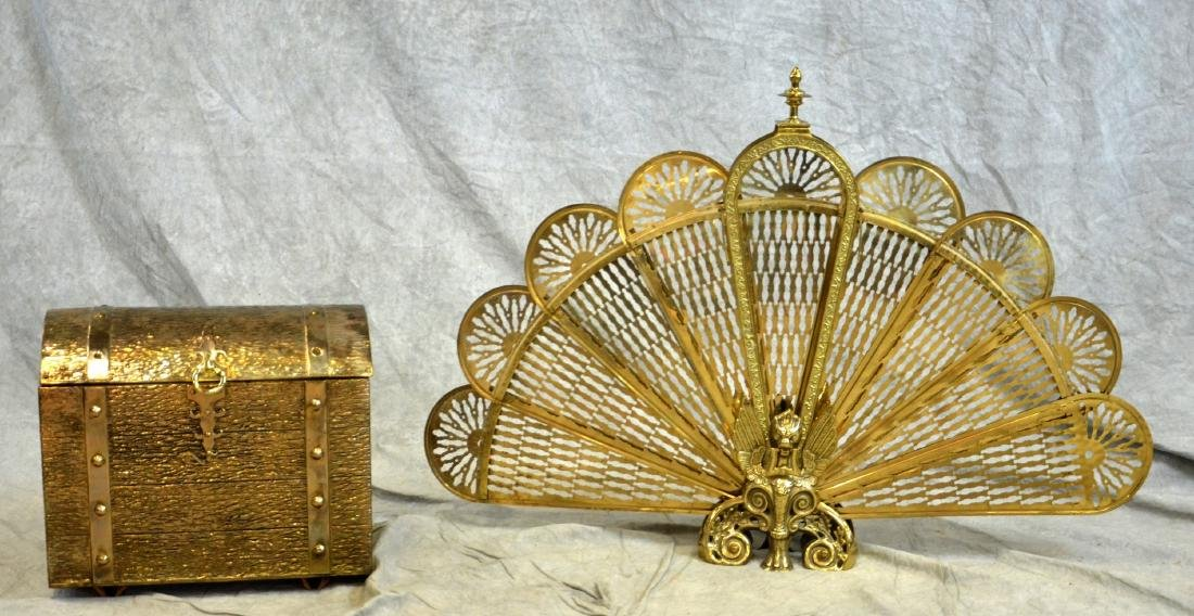 Brass Fireplace Fan & Covered Kindling Box