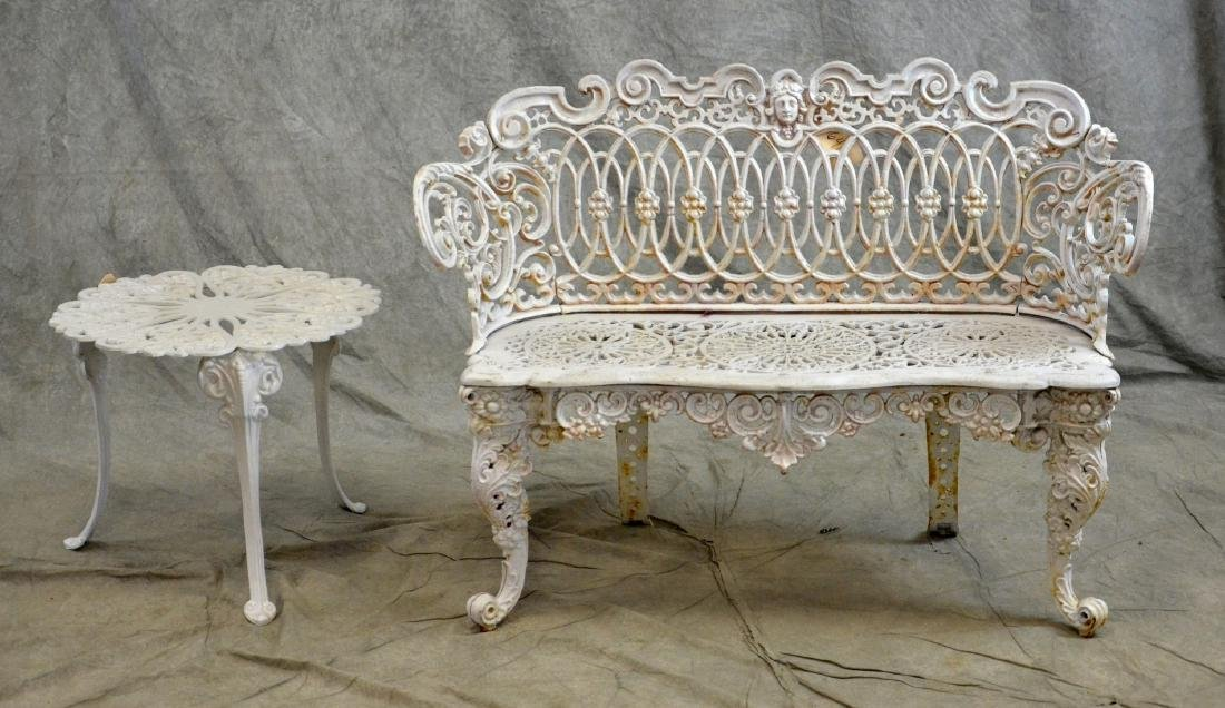(2) Cast Iron love seat and side table