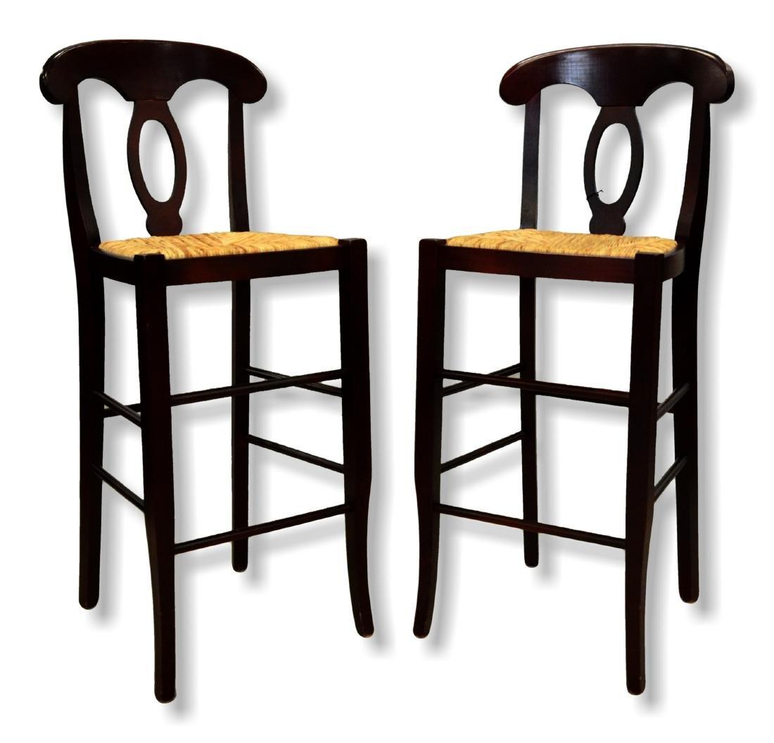 Pair mahogany finish bar stools