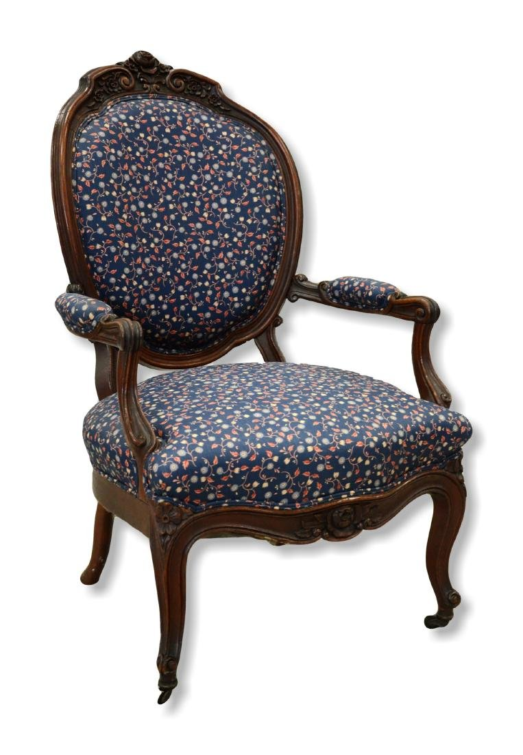 Carved walnut Louis XV style side chair with blue