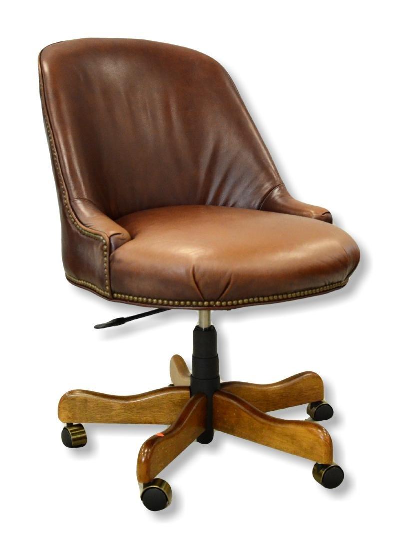 Leather upholstered swivel base desk chair