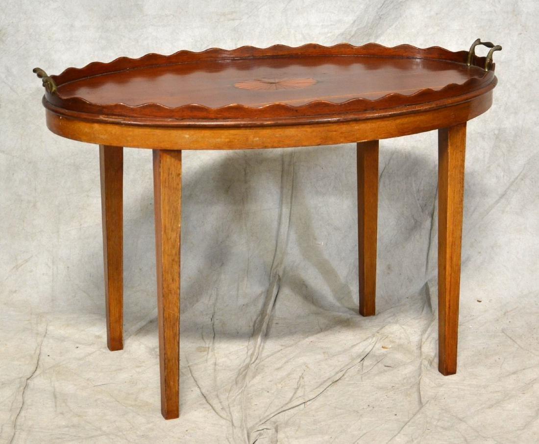 Mahogany tray top inlaid butler's table