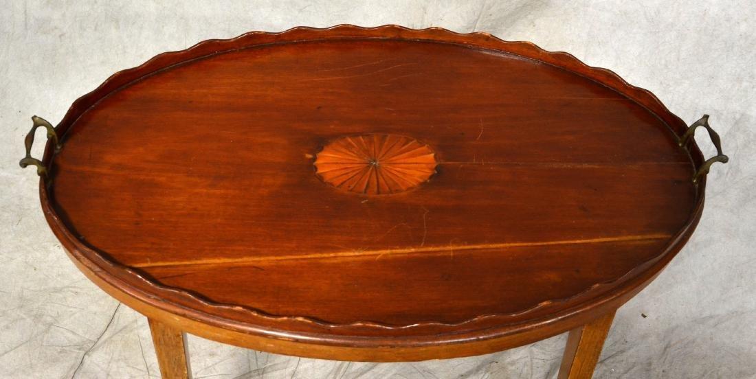 Mahogany tray top inlaid butler's table - 2
