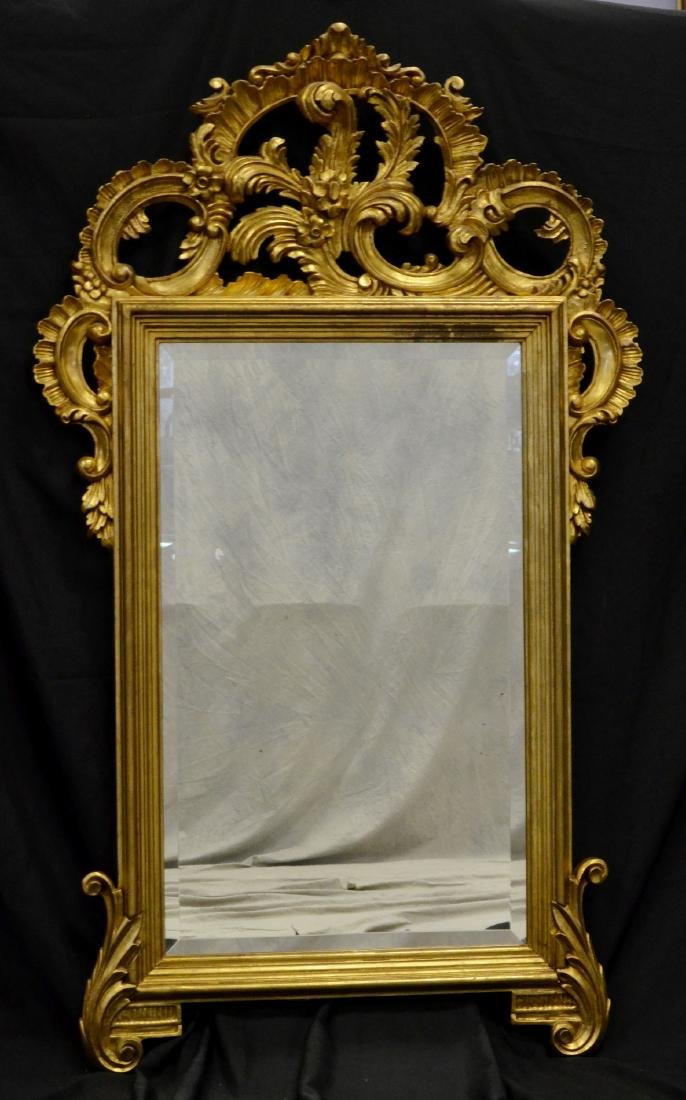 Italian Style Gilt Rococo Carved Beveled Glass Mirror