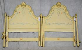 Pr Kindel French style paint decorated twin headboards