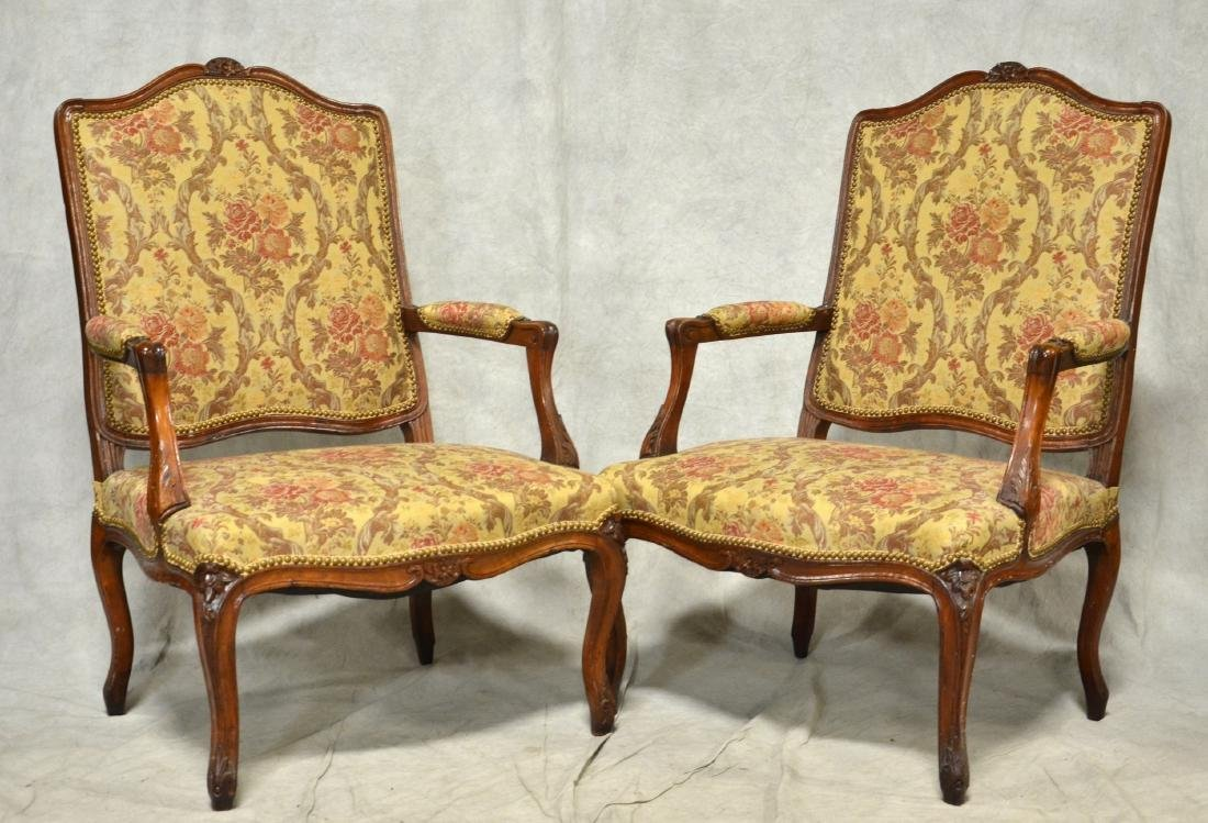 Pr Louis XV Style Oversized Carved Armchairs