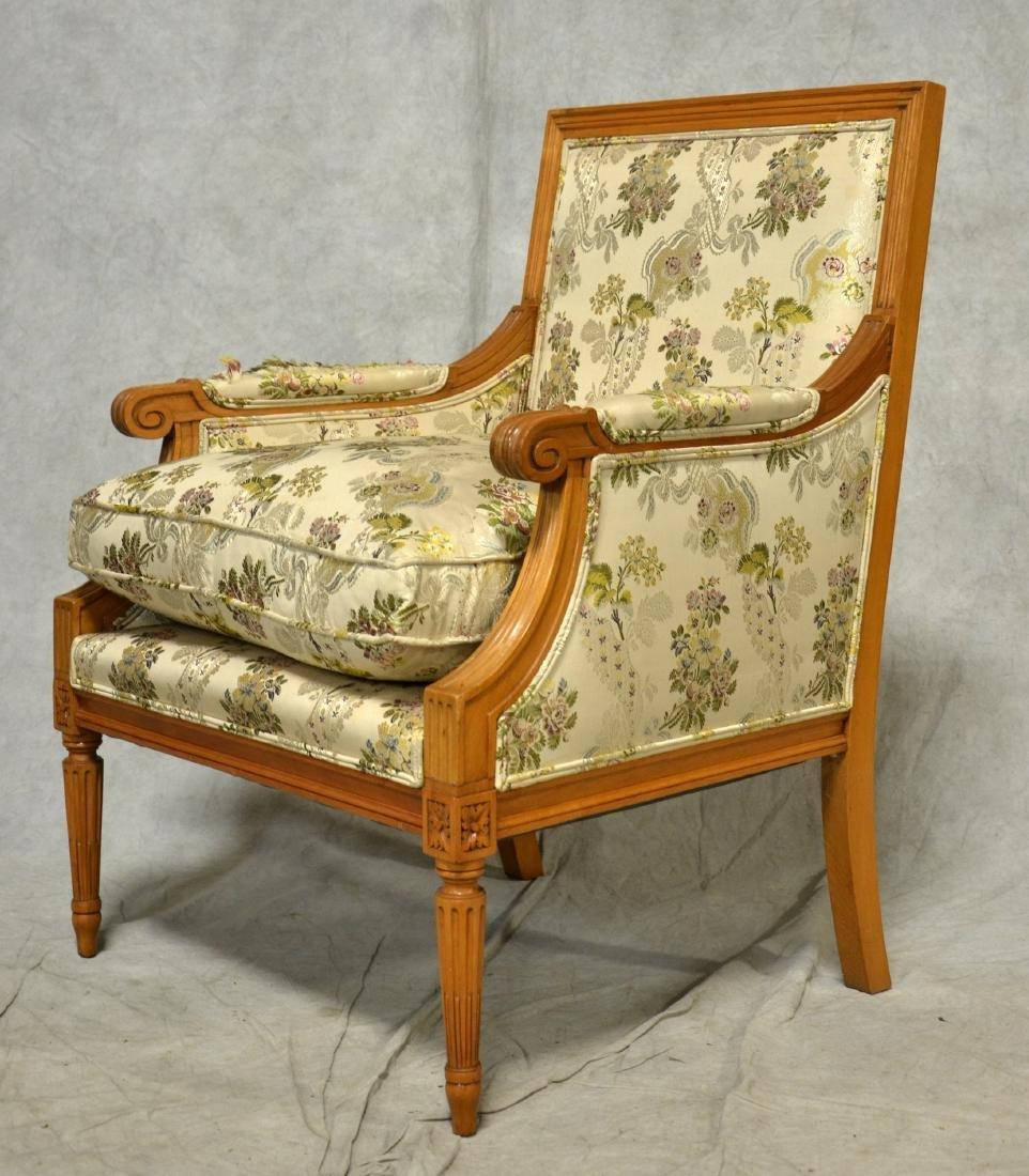 Pr Louis XVI Style Walnut Carved Bergeres - 2