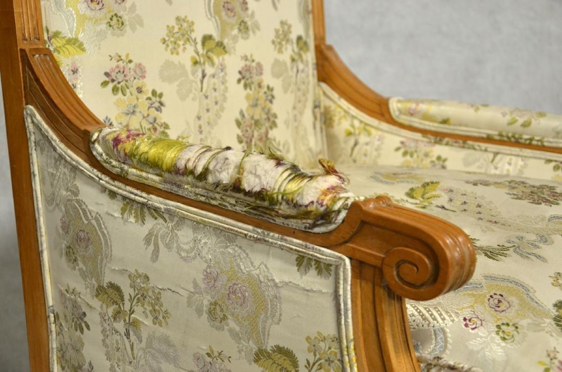 Pr Louis XVI Style Walnut Carved Bergeres - 3
