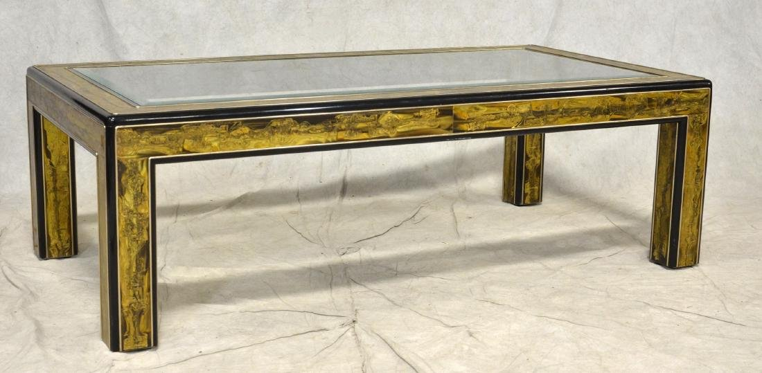 Bernard Rohne for Mastercraft Glass Top Coffee Table