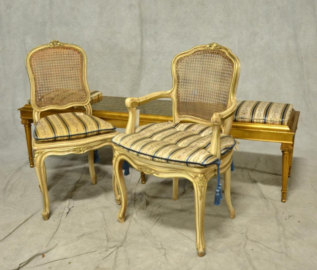 Louis XV style gilt side chair & armchair, Louis XVI