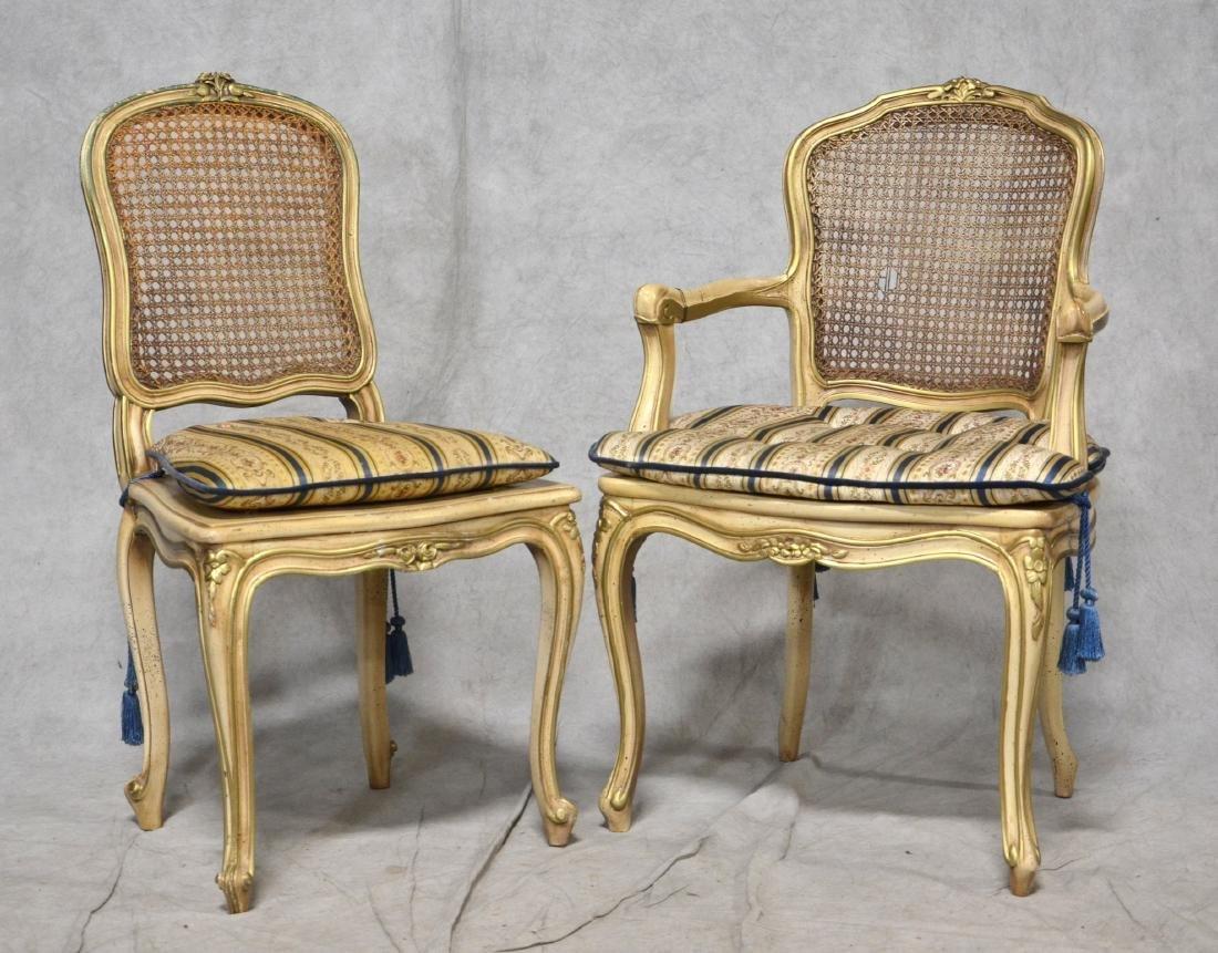 Louis XV style gilt side chair & armchair, Louis XVI - 4