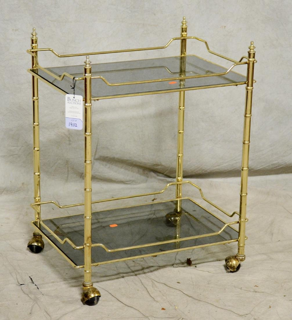 Chrome faux bamboo tea cart
