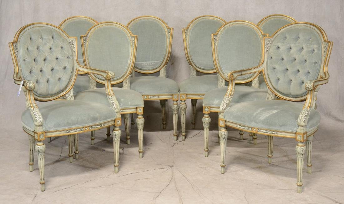 (8) Karges Louis XVI style paint decorated dining
