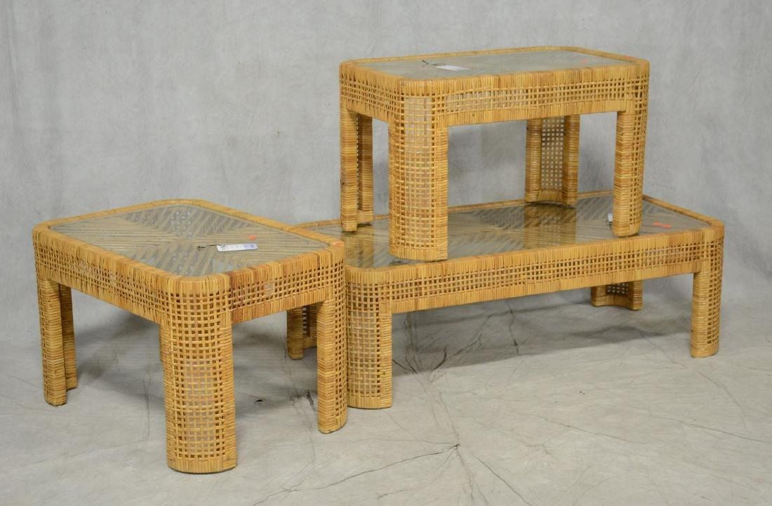 Rattan glass top coffee table, (2) rattan glass top
