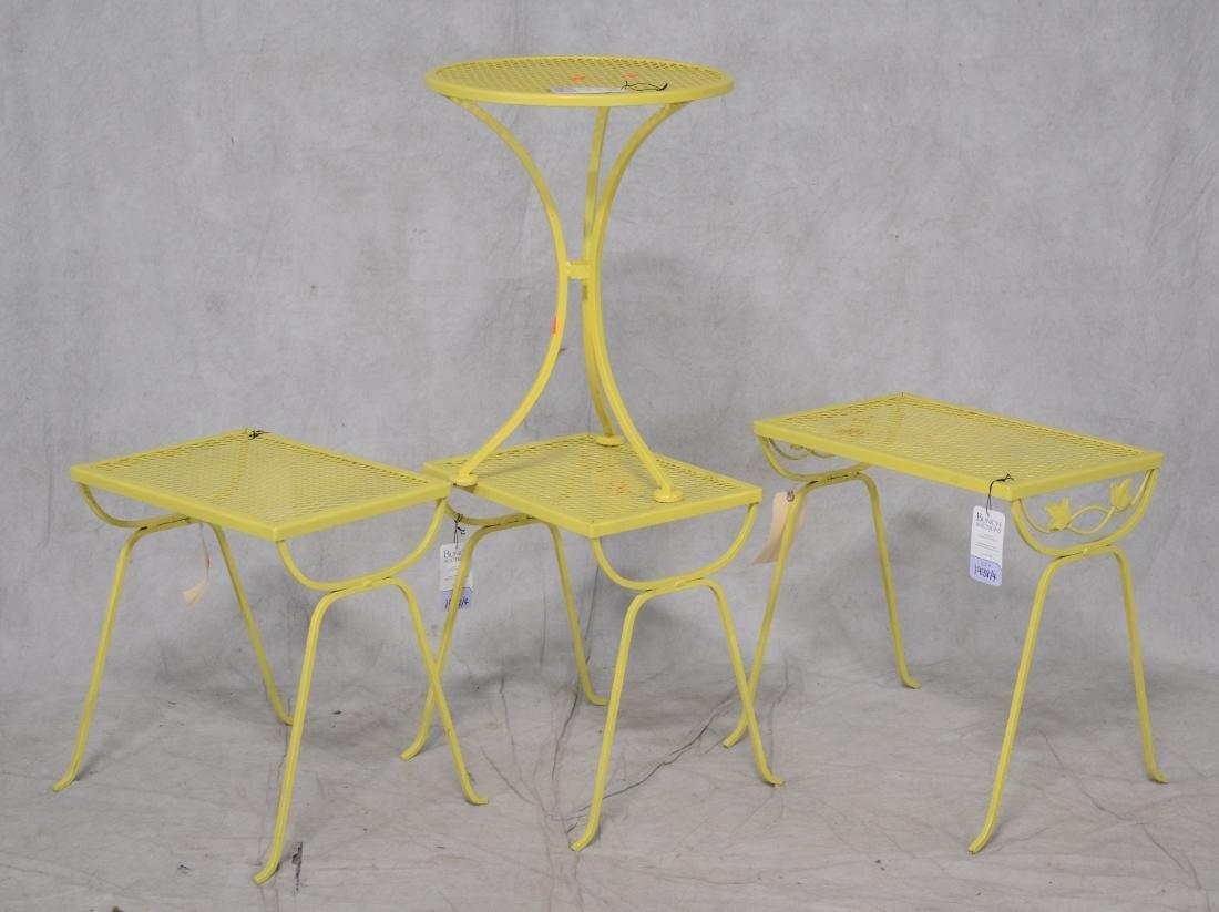 (4) Salterini style yellow metal side tables