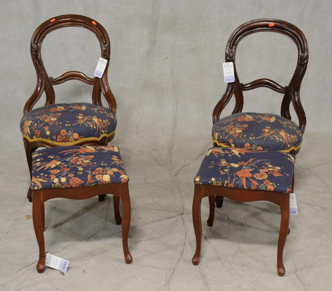 Pair Mahogany Victorian Style Side Chairs w/ Footstools