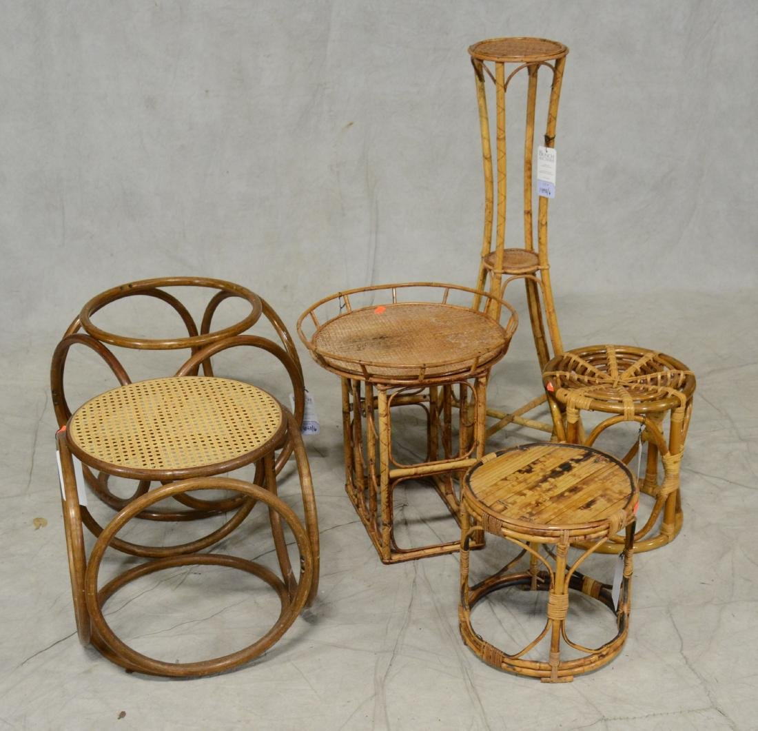 (6) bamboo side tables