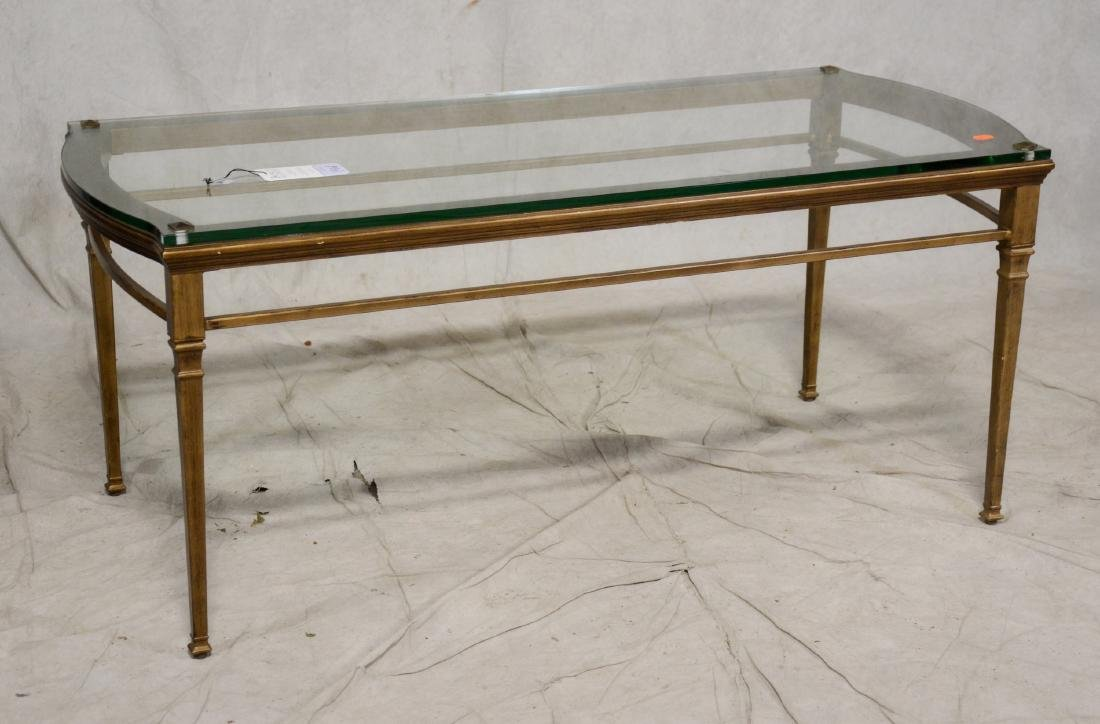Regency style brushed gilt glass top coffee table