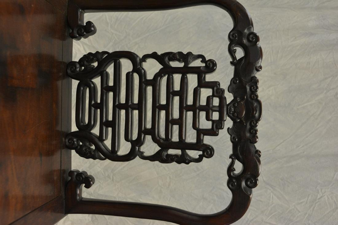 Carved rosewood archaic style Asian side chair - 2