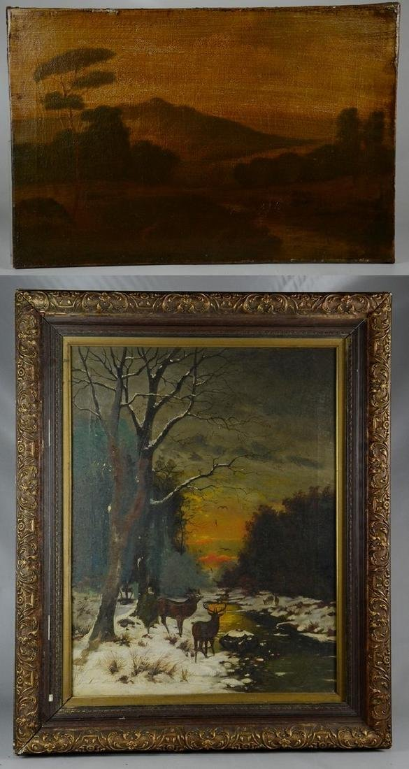 19th C American Landscape Painting with Deer
