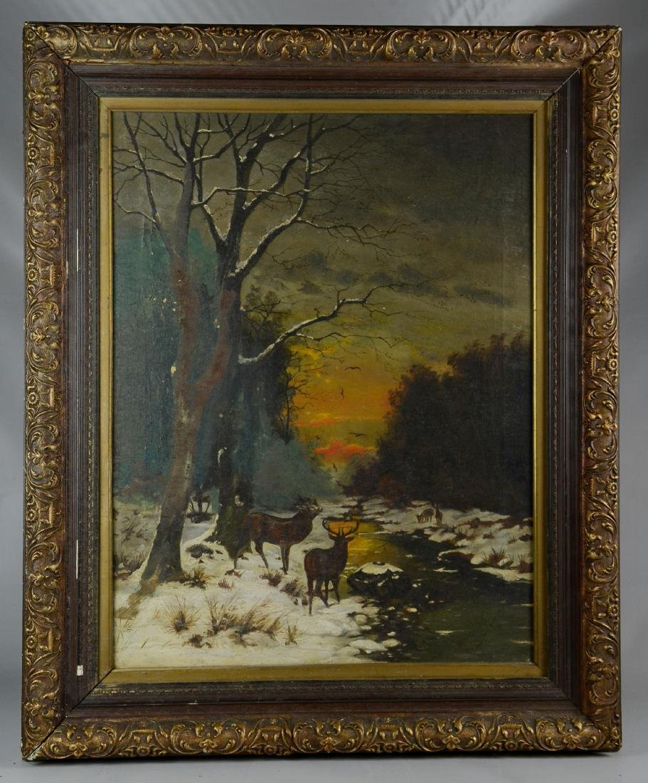 19th C American Landscape Painting with Deer - 3