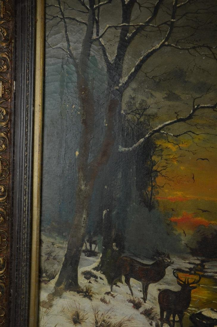 19th C American Landscape Painting with Deer - 4