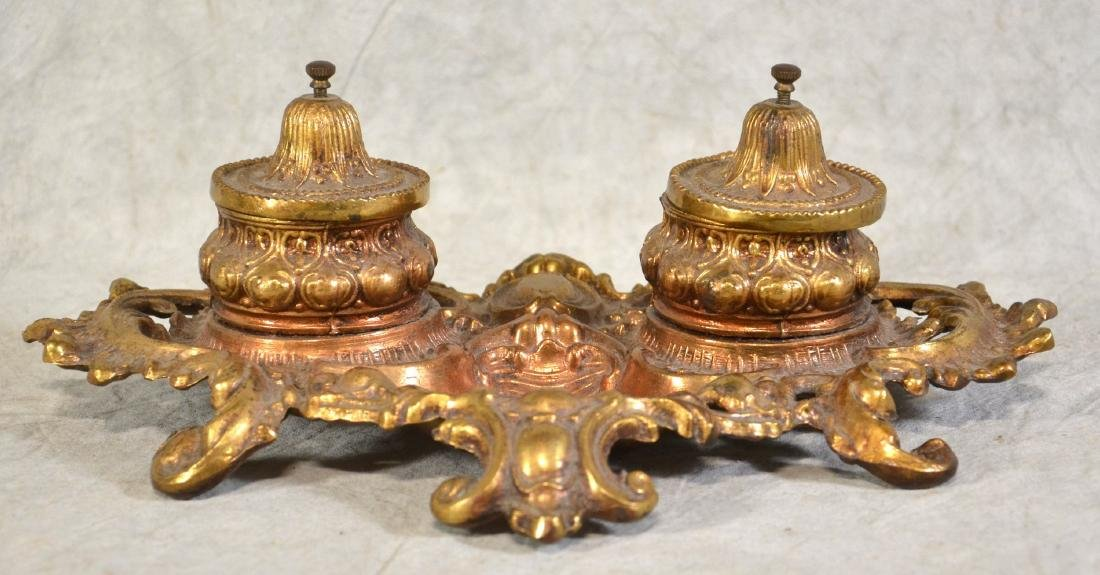 Brass Double Inkwell - 2
