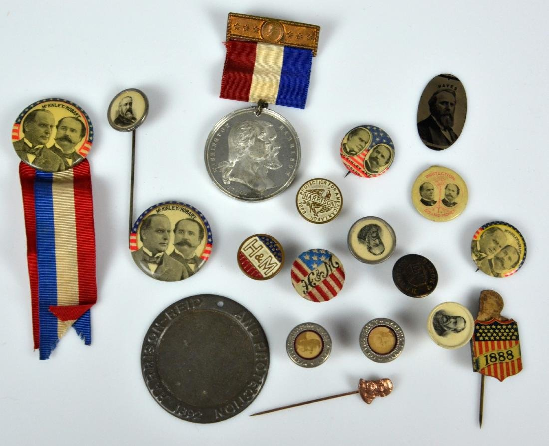 (19) 19th C Presidential Campaign Buttons