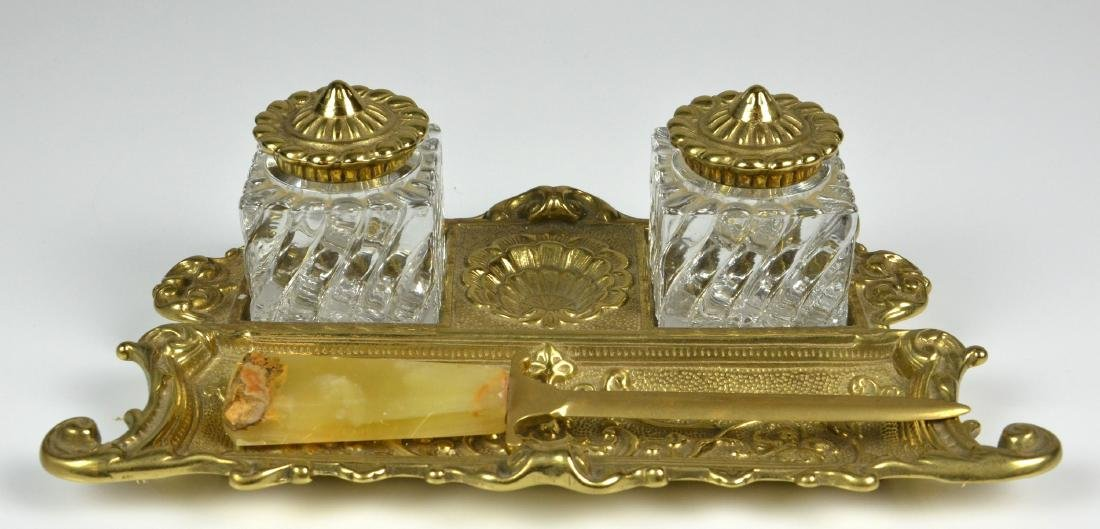 Ornate Brass Double Inkwell,