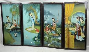4 Chinese reverse painted panels