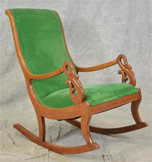 Miraculous Empire Style Rocking Chair W Swan Hand Rests Ncnpc Chair Design For Home Ncnpcorg
