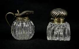 2 Pcs Cut glass with Silver Mounts