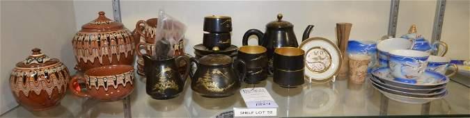 Shelf 52  3 Tea Sets Chokin Plate Turned Wood