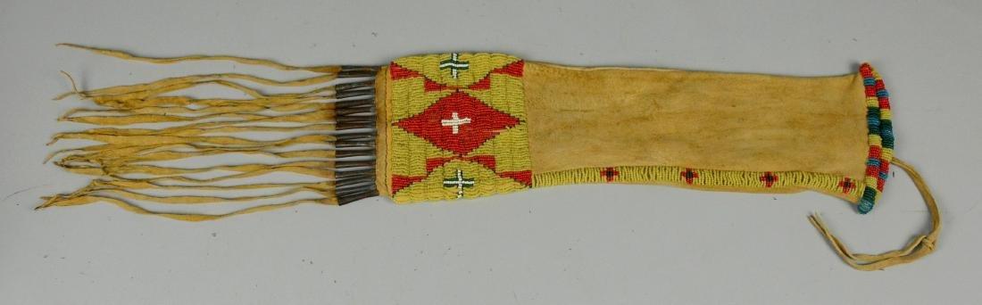 Plains Native American Indian beaded pipe bag