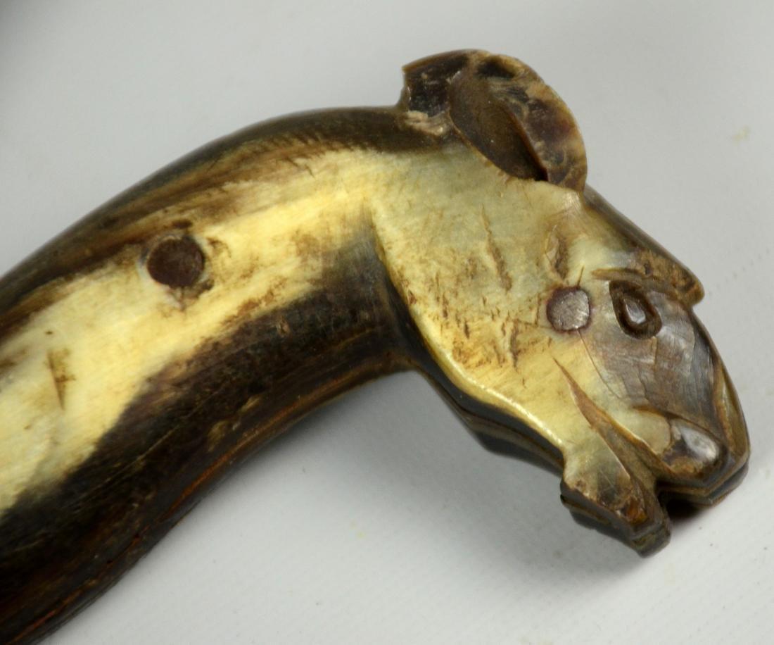 Early Native American beaded & fringed knife sheath w - 6