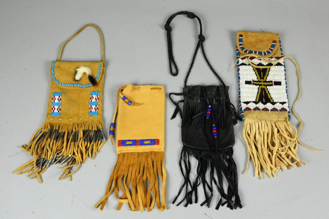 4 Native American Indian leather pouches