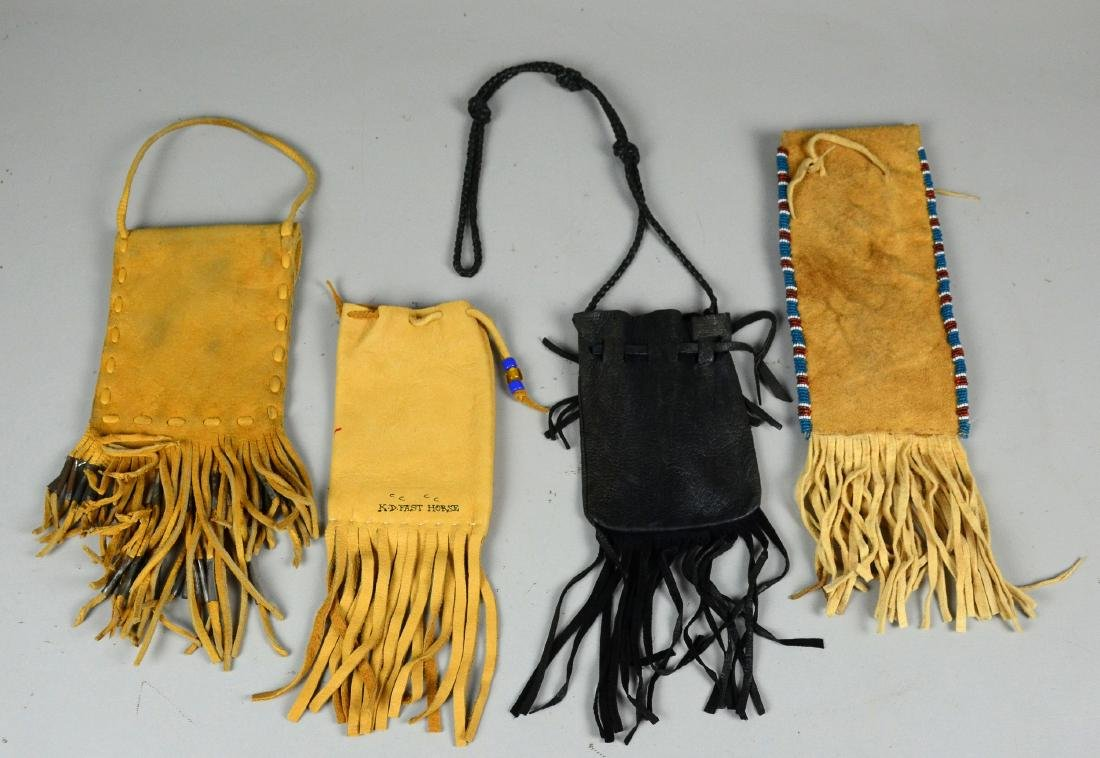 4 Native American Indian leather pouches - 3