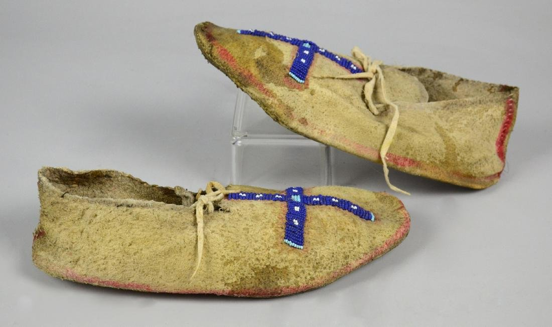 Early Plains Native American Indian Beaded Moccasins - 2