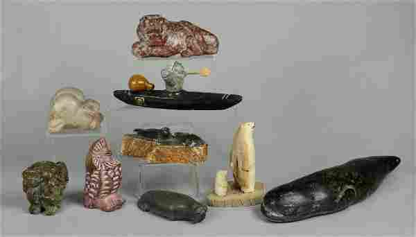9 Eskimo Inuit Carved Stone Sculptures