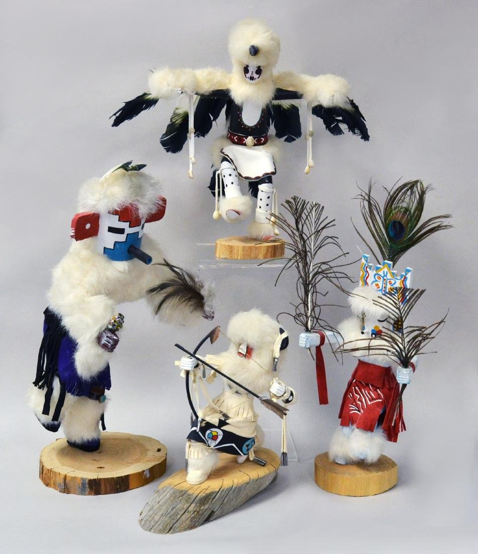 4 Signed Hopi Native American Kachina Dolls