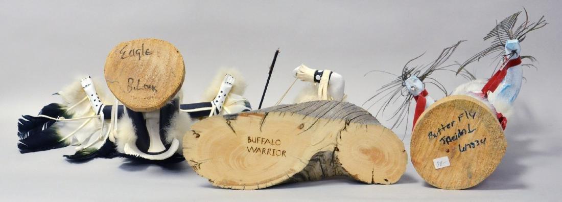 4 Signed Hopi Native American Kachina Dolls - 2