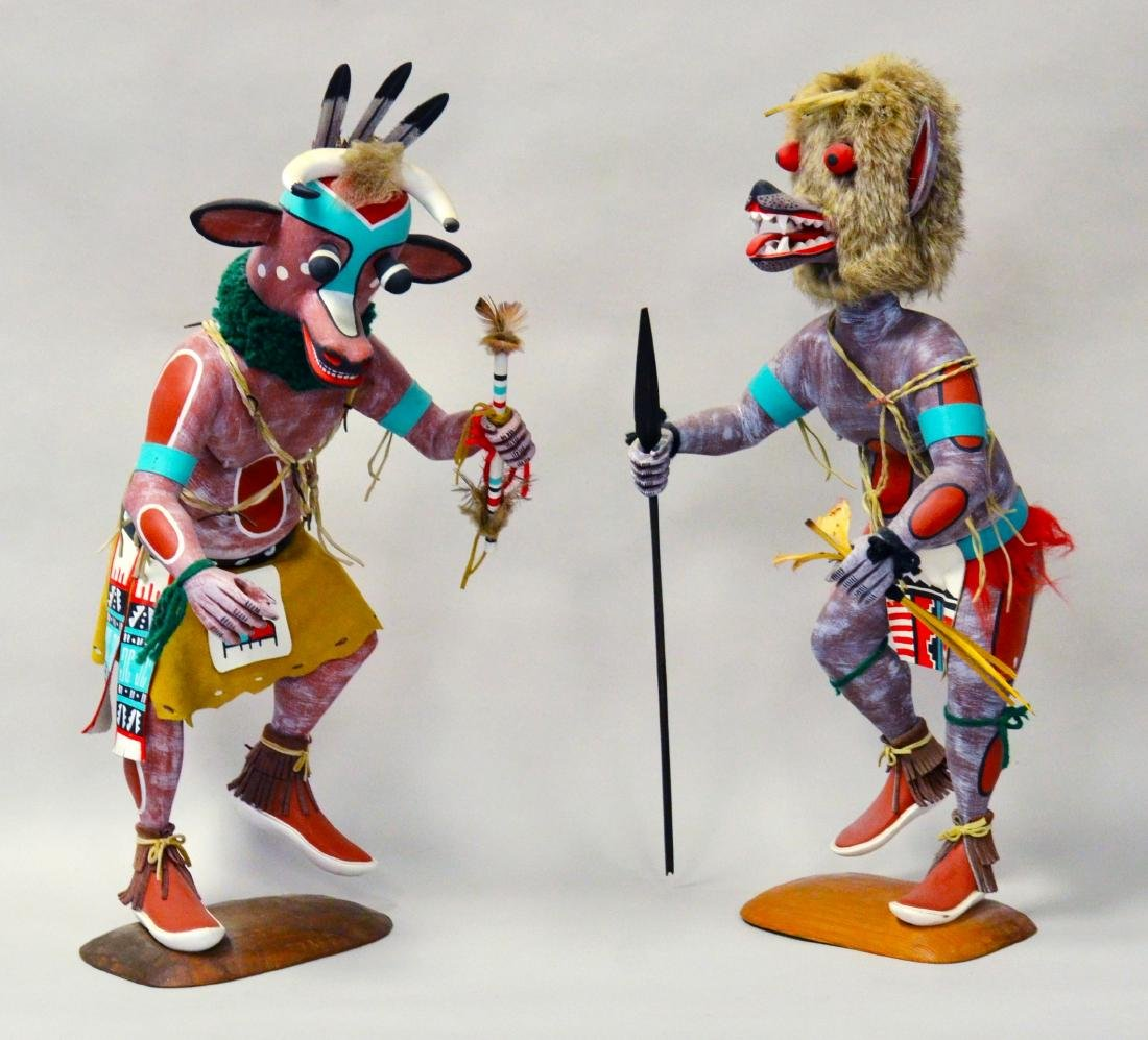 2 Signed Hopi Native American Kachina Dolls