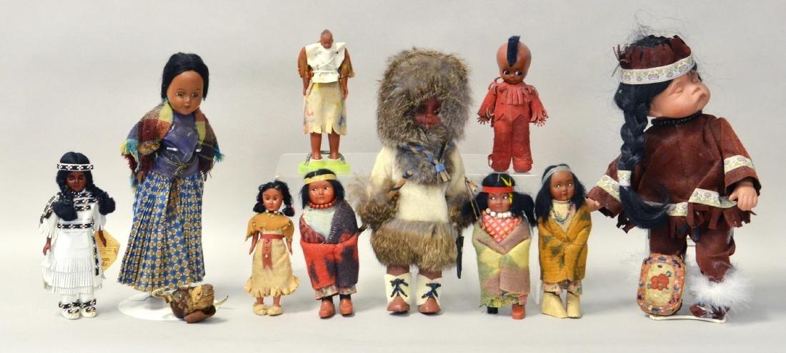 10 Vintage Native American Dolls incl Skookum